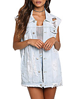 Women's Going out Club Simple Casual Street chic Spring Fall Denim Jacket,Solid Shirt Collar Sleeveless Regular Polyester Retro Hole