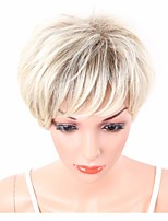 Women Synthetic Wig Capless Short Wavy Blonde Highlighted/Balayage Hair Layered Haircut With Bangs Party Wig Celebrity Wig Natural Wigs