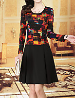 Women's Daily Plus Size Street chic Sheath Skater Dress,Print Round Neck Above Knee Long Sleeve Polyester Spring Fall Mid Rise Inelastic