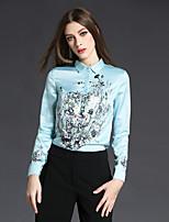 economico -Camicia Da donna Per uscire Casual Vintage Inverno Autunno,Con stampe Colletto 100% poliestere Manica lunga Sottile
