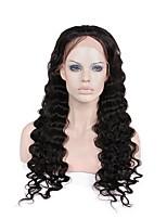 Недорогие -жен. Парики из натуральных волос на кружевной основе Бразильские волосы Натуральные волосы Реми Бесклеевая кружевная лента 130% 150% 180%