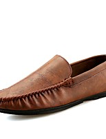Men's Shoes PU Spring Fall Moccasin Comfort Loafers & Slip-Ons For Casual Blue Brown Gray Black