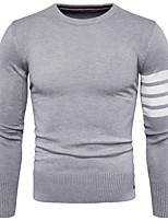 cheap -Men's Casual/Daily Work Regular Pullover,Solid Round Neck Long Sleeves Polyester Winter Thick Micro-elastic