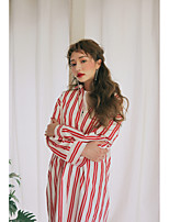 Women's Daily Active Street chic Spring/Fall Shirt,Check Shirt Collar Long Sleeves Cotton