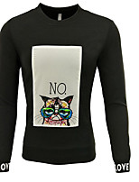 cheap -Men's Going out Sweatshirt Print Cotton Long Sleeves