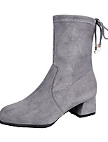 cheap -Women's Shoes PU Suede Winter Comfort Fashion Boots Boots Chunky Heel Round Toe For Casual Gray Black