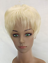 Women Synthetic Wig Capless Short Curly Creamy-white Pixie Cut Celebrity Wig Natural Wigs Costume Wig