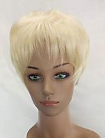 hairjoy Donna Parrucche sintetiche Pantaloncini Riccio Bianco crema Taglio corto spettinato Parrucca naturale Parrucca di celebrità