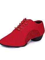 """preiswerte -Damen Modern Oxford Tüll Sneaker Gespaltene Sole Im Freien Niedriger Heel Schwarz Rot 1 """"- 1 3/4"""""""