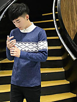 Men's Others Casual Regular Pullover,Color Block Round Neck Long Sleeves Polyester Autumn/Fall Medium Micro-elastic