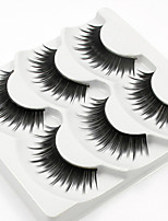cheap -3 Eyelashes lash Full Strip Lashes Eyelash Lengthens the End of the Eye Casual/Daily Handmade Fiber Black Band 0.07mm 12mm