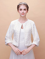 cheap -3/4 Length Sleeves Faux Fur Wedding Party / Evening Women's Wrap With Imitation Pearl Shrugs