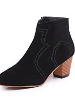 abordables -Mujer Zapatos Cuero Nobuck Invierno Botas de Combate Botas Dedo redondo Mitad de Gemelo Para Casual Negro Caqui