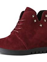abordables -Mujer Zapatos Cuero Nobuck Invierno Botas de Moda Botas Dedo redondo Para Negro Borgoña