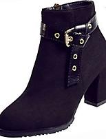 abordables -Mujer Zapatos Goma Invierno Botas de Combate Botas Tacón Cuadrado Dedo redondo Para Negro Amarillo
