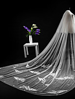 cheap -Two-tier Cut Edge Lace Applique Edge Modern Wedding Veil Cathedral Veils Headpiece 53 Laces Applique Lace Tulle