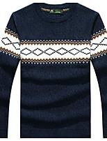 Для мужчин На каждый день Обычный Пуловер Контрастных цветов,Круглый вырез Длинный рукав Хлопок Средняя Слабоэластичная