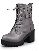 cheap -Women's Shoes PU Winter Combat Boots Boots Round Toe Mid-Calf Boots For Casual Brown Gray Black