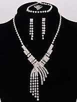 Women's Jewelry Set Bridal Jewelry Sets Classic Fashion Wedding Party Silver Plated 1 Necklace 1 Bracelet Earrings