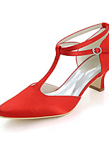cheap -Women's Shoes Satin Spring Summer Basic Pump Wedding Shoes Block Heel Square Toe For Wedding Party & Evening Ivory Champagne Blue Red