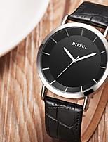Mujer Pareja Reloj Casual Reloj de Moda Chino Cuarzo Esfera Grande Piel Banda Casual Negro Marrón