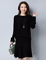 Women's Daily Wear Work Casual Autumn/Fall Sweater Skirt Suits
