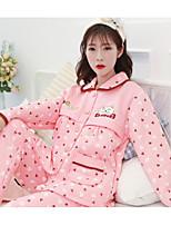 Nuisette & Culottes Pyjamas Femme,Imprimé Fleurs Polyester Rouge Rose Claire