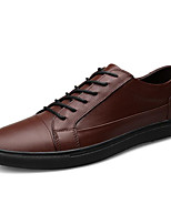 Men's Shoes Cowhide Spring Fall Light Soles Oxfords For Casual Brown Black