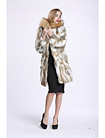 BF-Fur Style Women's Going out Simple Winter Fur Coat,Color Block V Neck Long Sleeves Regular Faux Fur