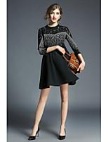 preiswerte -Damen Etuikleid Hülle Kleid-Ausgehen Lässig/Alltäglich Niedlich Solide Rundhalsausschnitt Midi Halbarm Polyester Herbst Mittlere Hüfthöhe