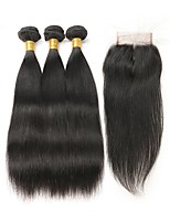 cheap -Remy Brazilian Natural Color Hair Weaves Straight Hair Extensions 4pcs Black