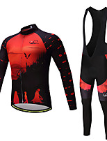Cycling Jersey with Bib Tights Men's Long Sleeves Bike Bib Tights Tights Pants / Trousers Jersey Top Clothing Suits Fleece Bike Wear
