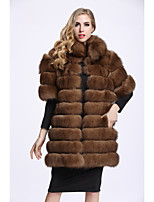 BF-Fur Style Women's Casual/Daily Sophisticated Winter Fur Coat,Solid Stand Half Sleeves Long Fox Fur