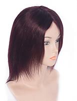 cheap -Women Human Hair Capless Wigs Dark Wine Short Straight Natural Hairline