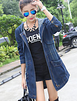 Women's Going out Casual/Daily Simple Fall Winter Denim Jacket,Solid Hooded Long Sleeves Long Cotton
