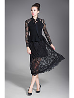 cheap -ZIYI Women's Party Going out Boho Lace Dress,Solid Crew Neck Midi Short Sleeve Cotton Spring Fall Medium Waist Micro-elastic Opaque