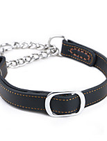 Dog Collar Portable Solid Genuine Leather Brown Black