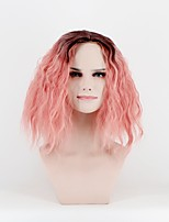 cheap -Women Synthetic Wig Capless Medium Length Natural Wave Pink Middle Part Natural Wigs Costume Wig