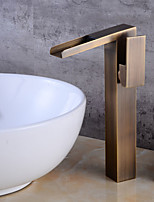 Art Deco/Retro Centerset Waterfall with  Ceramic Valve Single Handle One Hole for  Antique Copper , Bathroom Sink Faucet