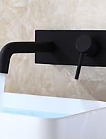 Modern/Contemporary Wall Mounted Ceramic Valve Single Handle One Hole Black , Bathroom Sink Faucet