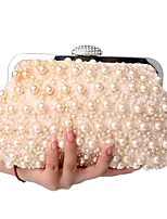 Women Bags Polyester Clutch Pearl Detailing for Event/Party All Season Champagne White Black