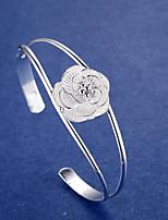 bracelet manchette des femmes style simple élégant bijoux de fleur d'argent pour la fête de mariage