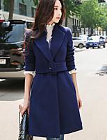 Недорогие -Для женщин На каждый день Офис Зима Пальто Рубашечный воротник,Простой Уличный стиль Однотонный Обычная Длинный рукав,Шерсть Полиэстер,