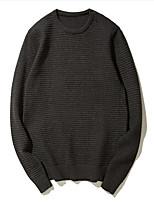 Для мужчин На каждый день Короткий Пуловер Однотонный,Круглый вырез Длинный рукав Акрил Зима Толстая Слабоэластичная