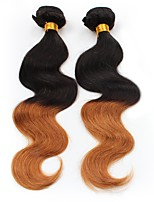 economico -2 pezzi Nero / Medium Auburn Ondulato naturale Peruviano Tessiture capelli umani Extensions per capelli