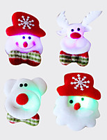cheap -12PCS Christmas Santa brooch brooch flash fabric luminous Christmas Decoration Christmas gift(Style random)