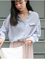 Women's Daily Going out Street chic Winter Fall Shirt,Solid Shirt Collar Long Sleeves Cotton Medium