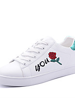 Women's Shoes Leatherette Spring Fall Comfort Sneakers Round Toe Lace-up For Casual Outdoor Green Red