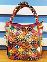 Women Bags All Season Cowhide Tote Zipper for Casual Rainbow