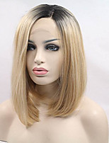 cheap -Realistic Looking Short Bob Wigs Ombre Blonde Lace Front Wig Straight For Women 2 Tones Dark Roots Synthetic Wig Glueless Heat Resistant Fiber Hair